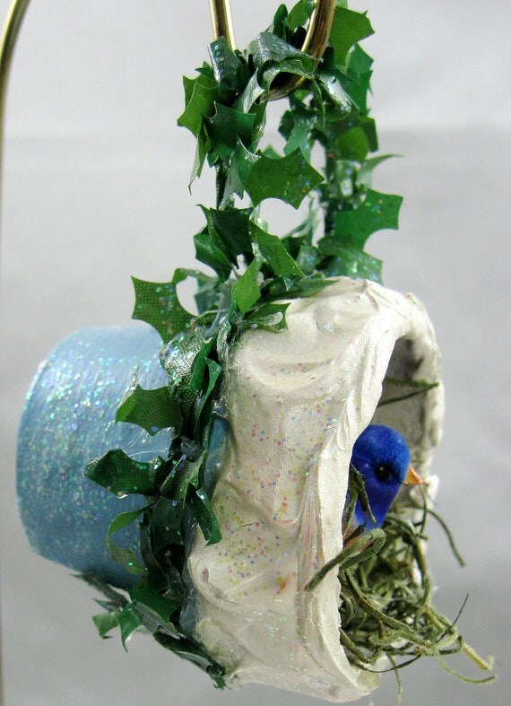 Bird Nesting in a Flower Pot Christmas Ornament 301