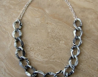 Chain Necklace - Black and White Chunky Chain Necklace - Stellar Statement Necklace No. 15