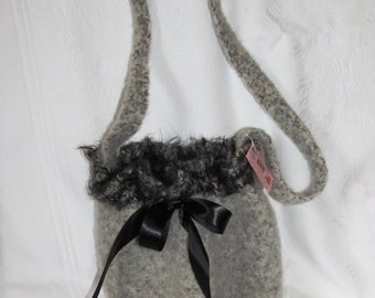 Ladies Tan/Gray Marble Felted Purse, Gray Felted Purse, Ladies Grey Purse