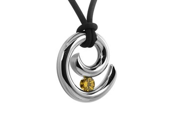 Yellow Topaz Tension Set Pendant in Stainless Steel