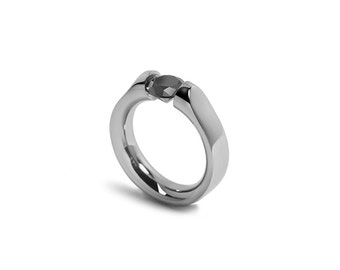Black Onyx Tension Set Modern Ring Stainless Steel