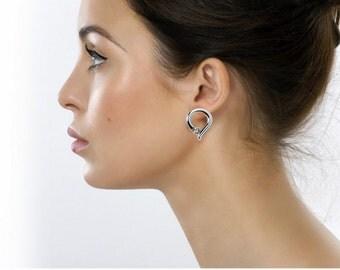 Teardrop Elegant White Sapphire Stud Earrings Tension Set in Steel Stainless