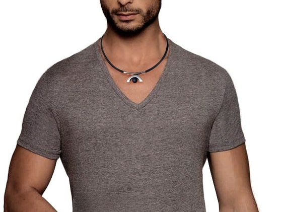 Cool Modern Mens Rubber Necklace with Obsidian and Gold