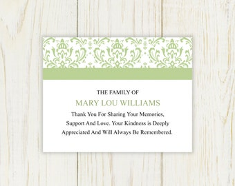sympathy thank you card printable after funeral note choose your color