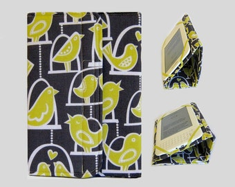 Standable Kindle Cover, Kindle Fire Case, Nook Cover, Kobo Case, Nexus 7 Cover, Kindle Fire HDX, iPad Mini, Dell Venue Yellow Birds