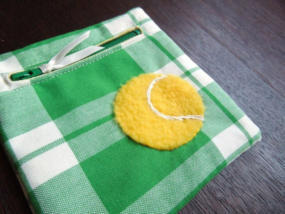 Kelly Green and Yellow Tennis Ball Zipper Pouch Coin Purse