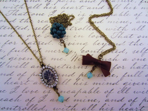LAST ONE. Set of three best friend necklaces. Chocolate brown and cadet blue. Rhinestones, ribbons. Modern friendship necklaces.