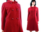 Raspberry Red Wool Coat - Vintage 60s Dark Red Pink Wool Boucle Double Breasted Winter Jacket  Bromleigh Size M Medium FREE US Shipping - HepCatClothes
