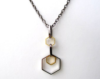 Geometric Necklace Mixed Metal Jewelry Hexagon Necklace