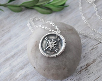 Wax Seal Compass Rose Necklace -  Silver Compass Necklace -  Silver Compass Wax Seal  - Handcrafted Compass Necklace - Sterling Silver