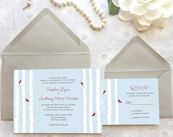 Birch Tree and Birds Winter Wedding Invitations - Woodland Wedding - Nature Wedding