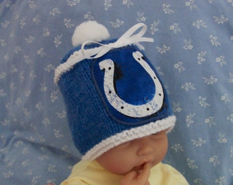 Custom handmade knit NFL Indianapolis COLTS baby Hat 0-12M-cute gift photos