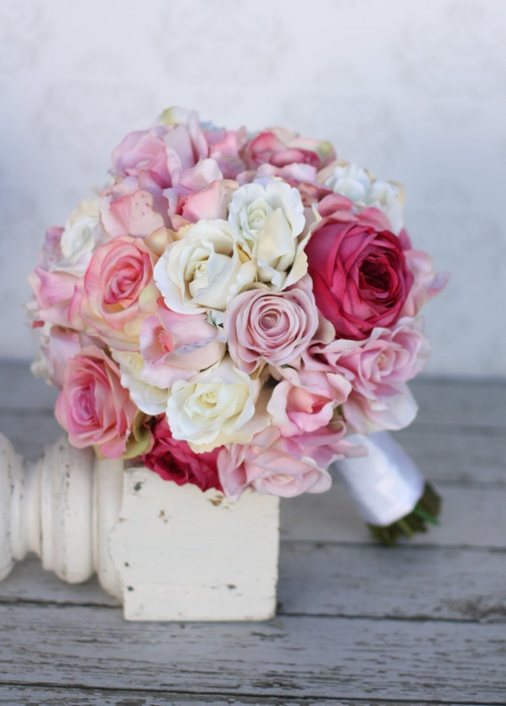 Items similar to silk bride bouquet roses shabby chic for Shabby chic deko ideen