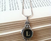 Vintage typewriter key necklace choose from A B C D E F G H I J K L M N O P Q R S T U V W X Y Z