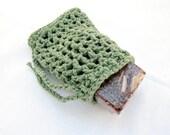 Green Crochet Soap Saver, Cotton Soap Holder, Green Soap Bag