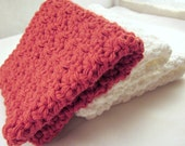 Cotton Washcloths, Crochet Washcloths, Cotton Facecloths, Crochet Facecloths, White Washcloths, red Cotton Cloth