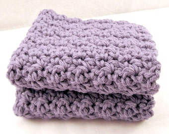 Purple Washcloths, Crochet Cotton Face Cloths, Set of cloths, Crochet washcloth, cotton dishcloths