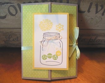 Mason Jar Invitation, Caterpillar Invitation, Flower Invitation, Farmhouse, Vintage - Set of 8