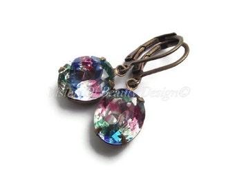 Iris Vintage Rhinestone Earrings, Rose, Emerald, Sapphire