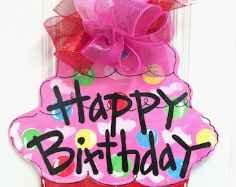 Happy Birthday Pink and Red Cupcake Door Hanger - BHA