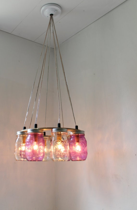 Purple Passion MASON JAR CHANDELIER - Upcycled Hanging Mason Jar Lighting Fixture For Direct Hard Wire - BootsNGus Lamps & Rustic Home Decor