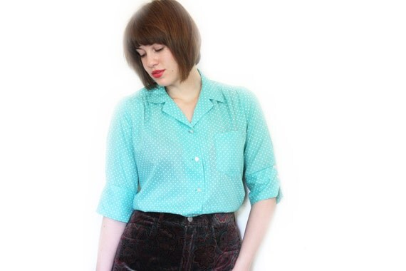 70s Mint Green Blouse - Green and White Polka Dot Button Up Shirt  - M / L