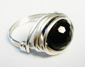 Silver Rings  Sterling Silver Rings    Silver Rings for Women   Black Onyx Ring   Wire Wrapped Jewelry  Black Onyx Jewelry