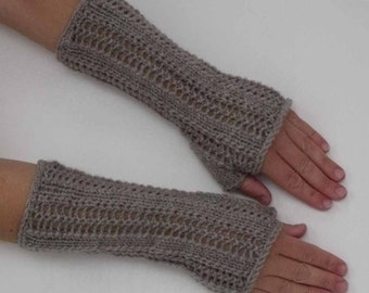 Hand Knit Gray Arm Warmers, Fingerless Gloves or Texting Mitts