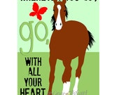 Horse Art Print Wall Decor with Butterfly and Quote, Wall Art