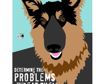 German Shepherd Art Wall Decor The Problem Solver Matted