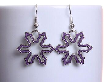 Purple enamel snowflake silver tone dangle drop earrings (608) - Flat rate shipping