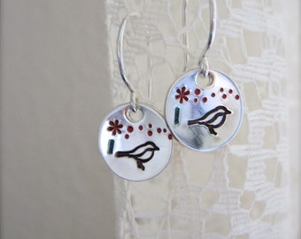 Tiny bird and flower earrings - made in Hawaii, dainty sterling silver earrings, lightweight earrings, mother's day gift, mom jewelry
