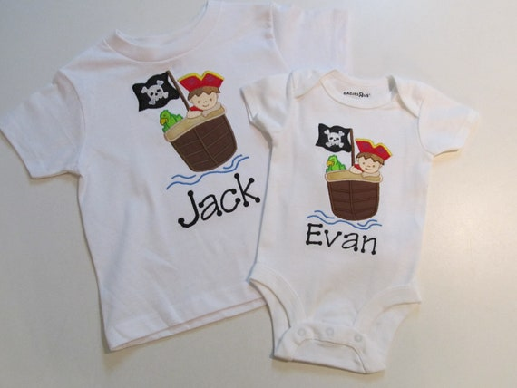 Big Brother, Little Brother White Shirt and Onesie, with Little Boy in Pirtate Ship Applique
