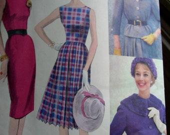 UNCUT Vintage 1950's VOGUE Couturier Original Sewing Pattern 196 *  FABULOUS Dress & Jacket- size 14 bust 34  + Vogue Label's