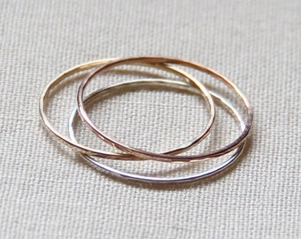 Three 14k Gold Tricolor Stack Rings - Solid 14k Gold - Rose Gold - White Gold - Yellow Gold - Hammered Rings -  Mixed Metals - Delicate