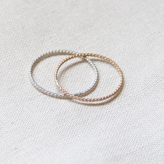 Two Rope Thread Rings - Tiny Twist Textured Gold and Silver Stacking Rings - Delicate Jewelry - Memory Rings