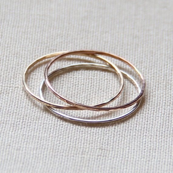 Tiny Set of Three - Rose Gold - Silver - Rustic Gold - Hammered Stack Rings -  Mixed Metals