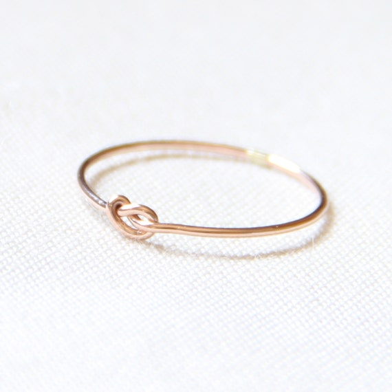 One Tiny Memory Knot - Knotted Thread of Rose Gold Ring - Stacking Ring - Delicate Jewelry - Memory Ring
