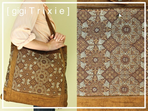 CLEARANCE Deluxe, Ethnic Water Star Large shoulder tote bag, school, pockets