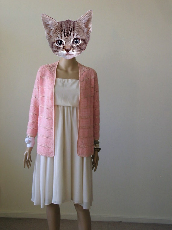 70s Pink Cardigan Sweater Mohair Cardigan Crochet Virgin Suicides