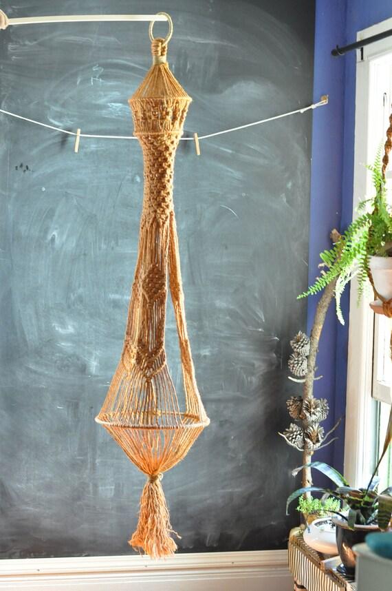 Vintage Macrame Large Hanging Plant Basket