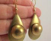 Teardrop Brass Earrings, Art Deco Earrings, Vintage Brass Earrings
