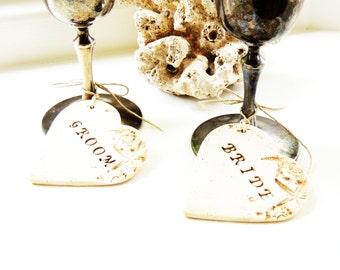 Bride and Groom Wine Charms Wedding Toasting Glass Wine Glass Heart Starfish and Seashell Beach Wedding Theme