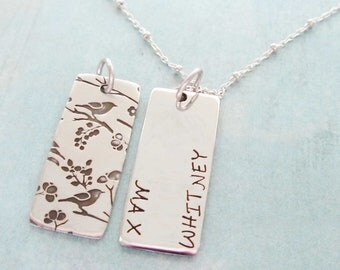 Sterling Silver Mothers  Bird Necklace Custom Double sided - A Bird In the Heart  - Long Rectangle High Quality Personalized stamped