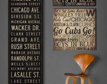 Text Quote City Sign - Custom PERSONALIZED Vintage Style Bus Scroll CANVAS Wall Art - 14x42x1.5 inches