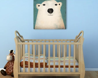 POLAR BEAR Graphic Illustration Stretched Canvas Wall Art 20x20x1.5 inch  Ready-to-Hang