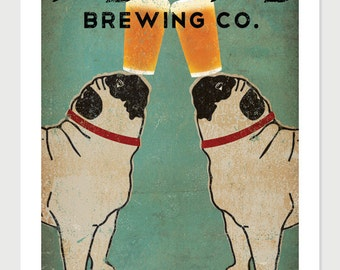 Pug & Pug Brewing Co. Beer  ILLUSTRATION Giclee Print 24x36 inches signed
