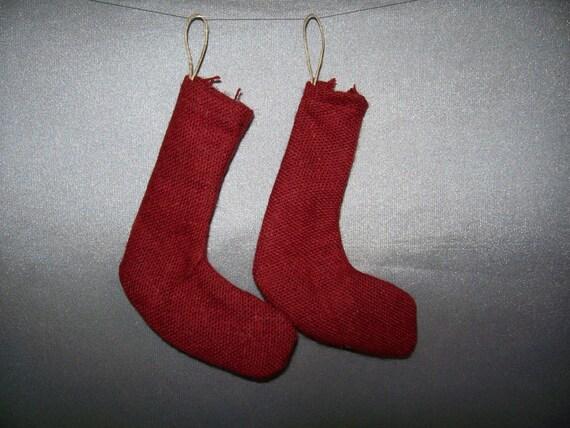 SALE! Set of 2 Stocking Ornaments Dark Red Wool - Miniature Stockings Christmas Tree