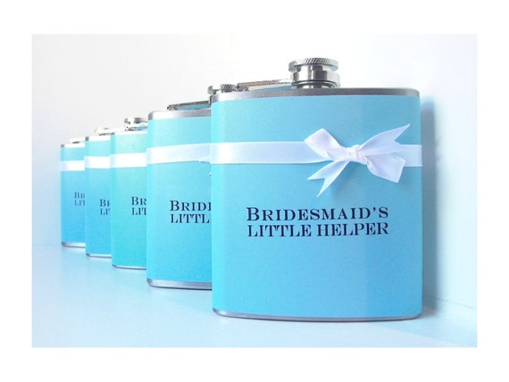 Wedding Party Flasks, Personalized Flask, Bridal Party Gifts, Bachelorette Party, Aqua Birthday Gift, Custom Flask, Maid of Honor Gift