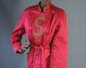 50s 60s Jacket Vintage 1950s Lounging Robe Red Satin Quilted Dragon Large Asian Style